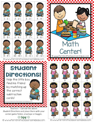 Fern Smith's Classroom Ideas Quick and Easy to Prep Mixed Subtraction Doubles Concept Center Game with a Cute Summer Picnic Theme at TeachersPayTeachers.