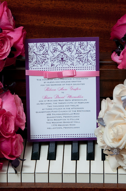 Pink and Purple Wedding Invitations