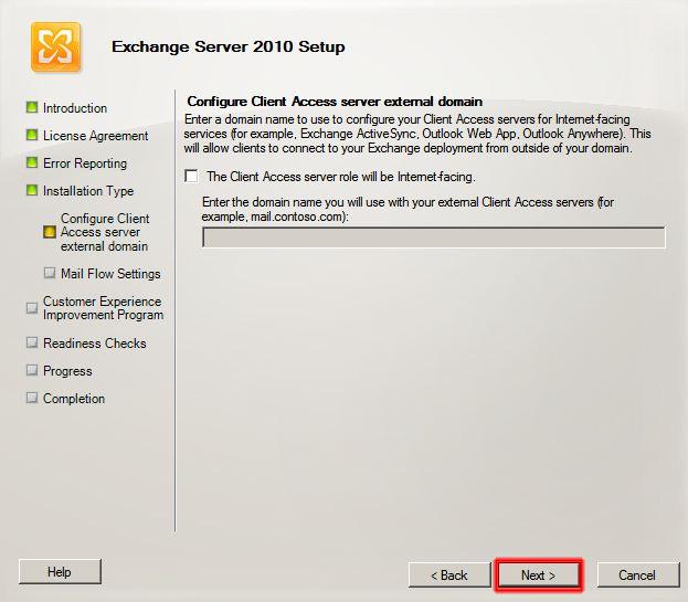 Configure Client Access server external domain.