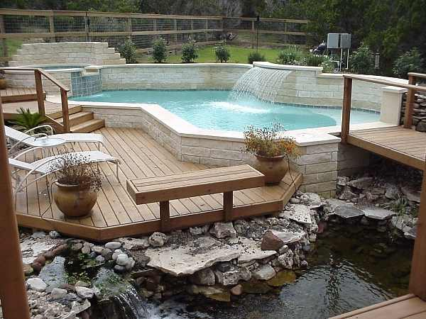Home and garden design your own deck design composite for Pool deck design plans
