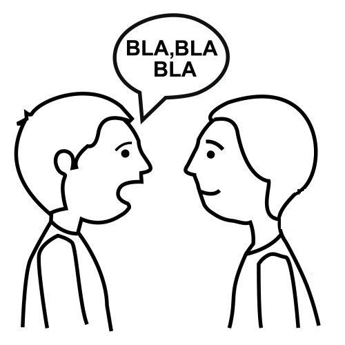 Un dibujo de dos personas hablando - Imagui