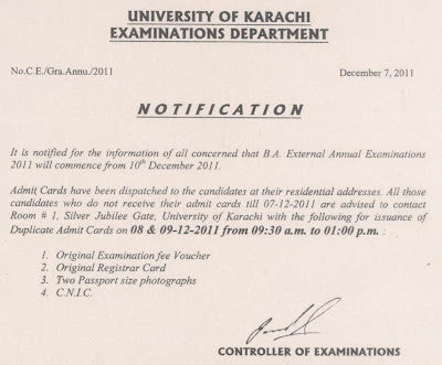 B.A External Annual Exam 2011 University Of Karachi