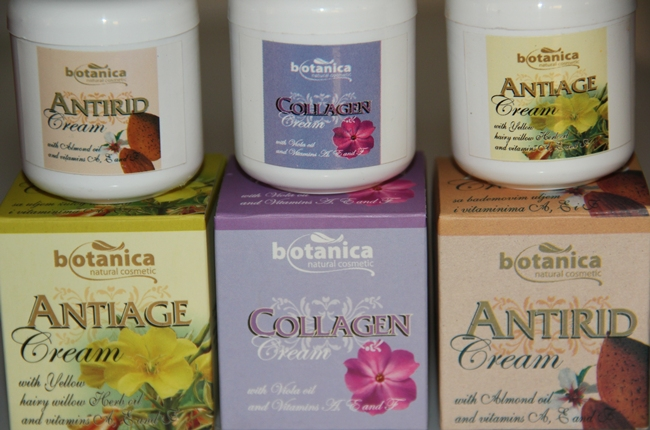 Botanica natural cosmetic face creams- antiage, antirid, collagen. Botanica kreme za lice. Botanica anitiage face cream. Botanica antirid cream. Botanica collagen cream. Jeftine kreme za lice.