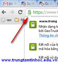 Biểu tượng ổ khóa cho biết trang này đang chạy HTTPS đã xác thực