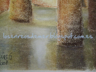 Detalle Aljibe cacereño - pastel sobre fondo marfil