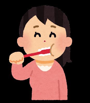 歯を磨いている女性のイラスト