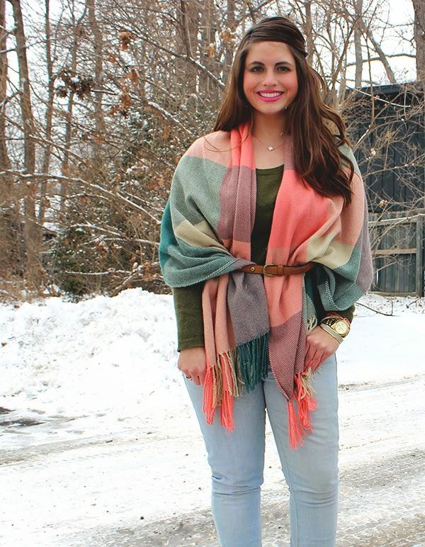 La Petite Fashionista: Pink Plaid Blanket Scarf