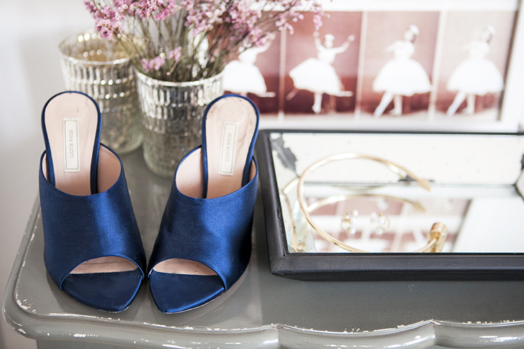 Nina Ricci satin slides, Navy satin mules, mirrored jewelry tray, zara gold metal choker, silver votive vases, vintage ballerina sequence print, asos double pearls