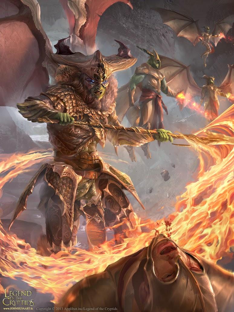 illustration de John Silva représentant un démon livrant bataille
