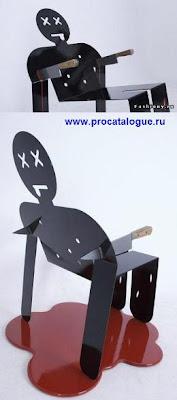 Креативные стулья. Стул в виде фигуры человека с двумя ножами. Креативные стулья. Стул фото смотреть онлайн.