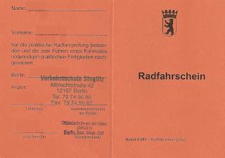 Radfahrschein - carteira de condutor de bicicleta