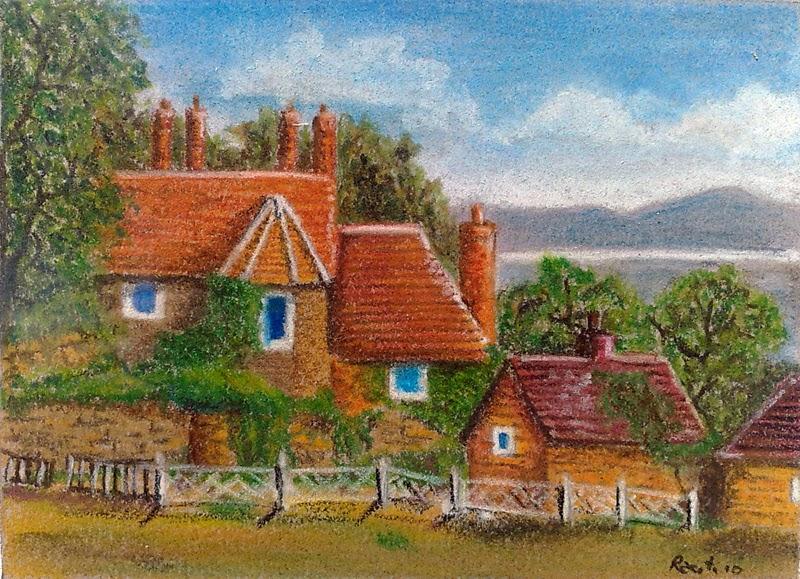 paesaggio inglese matite colorate pastello