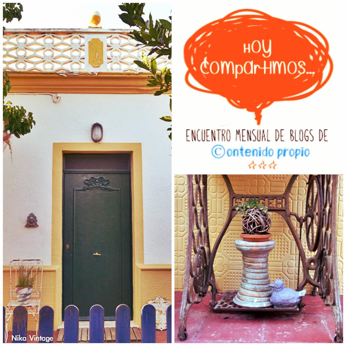 hoy compartimos, blog hop, jardin, menorca, vintage, decoracion, puerta menorquina, entrada