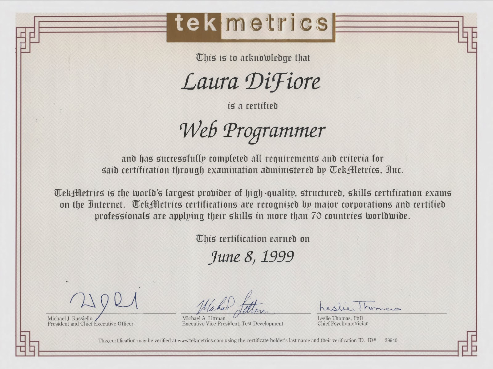 The Pages Of My Life Certificate Tekmetrics Htmlweb Programmer