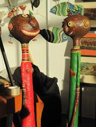 Encuentro, figuras 120 cm alto, cartapesta y cerámica