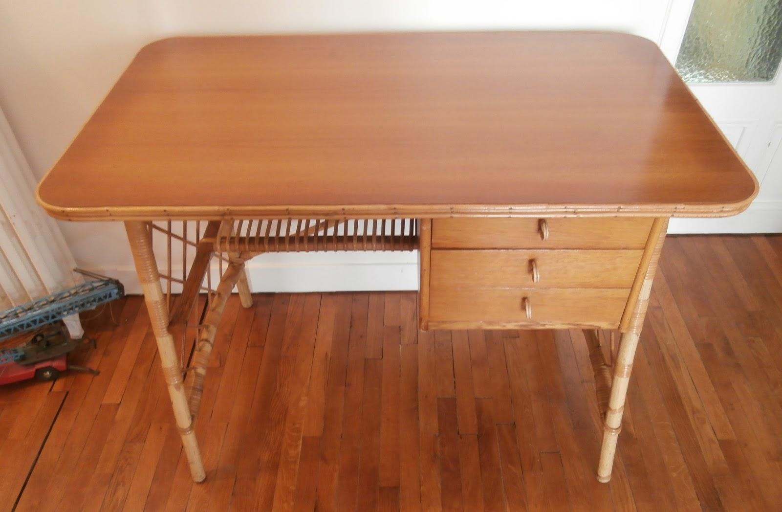 Ancien bureau louis sognot vintage meuble en rotin osier bois