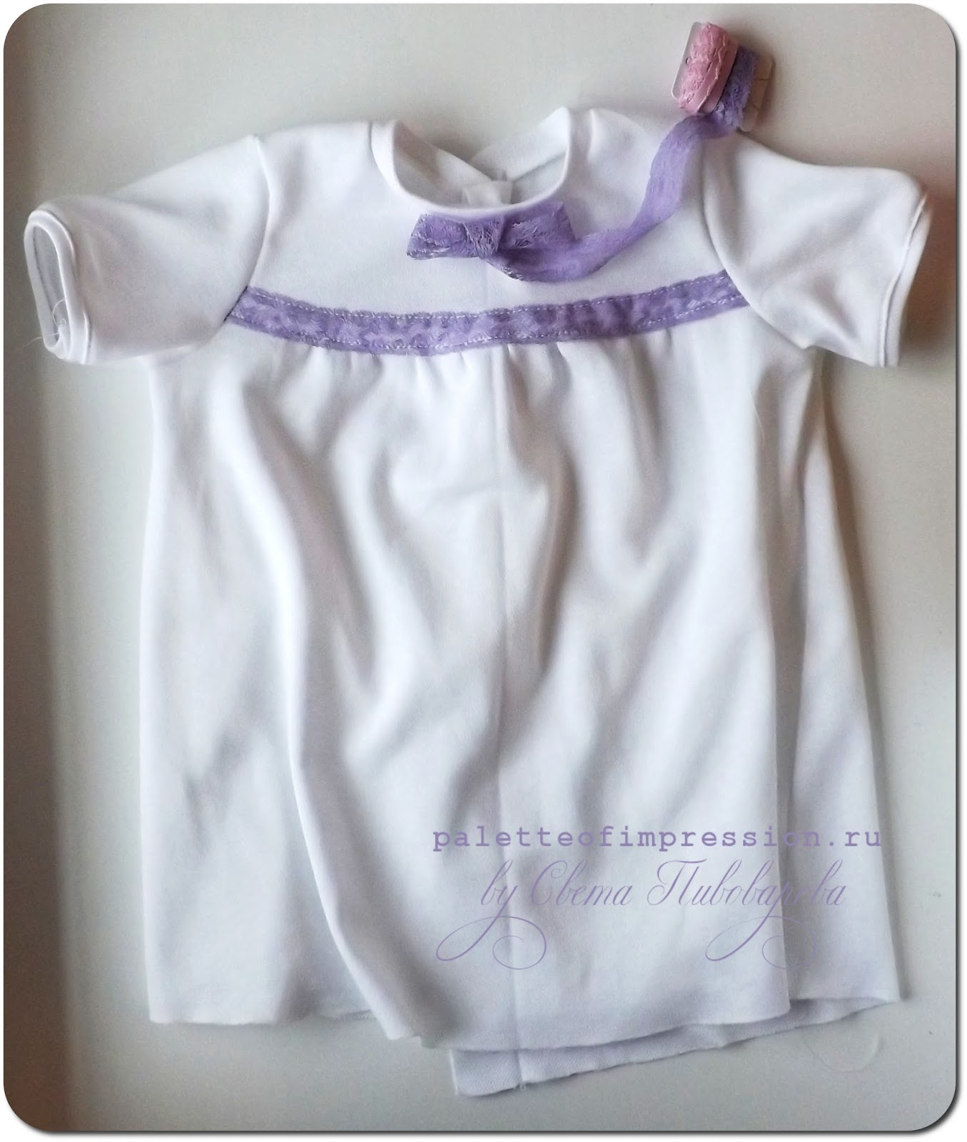 Проект: рабочее место 4/52. Шитье. Детское платье из белого пике.