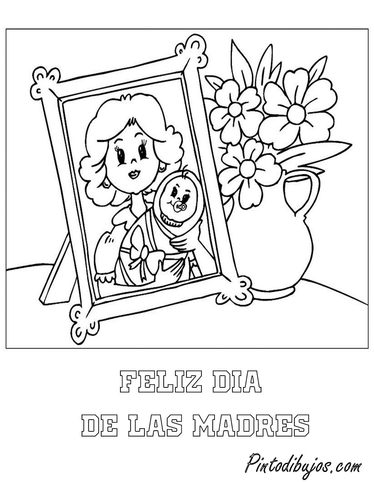 Tarjeta del dia de las madres para colorear