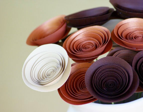 chocolate and copper paper bouquet