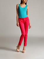 Pantaloni casual, din bumbac, fuchsia, slim (Top Secret)