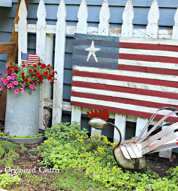 Red White & Blue Junk Garden Vignette www.organizedclutter.net