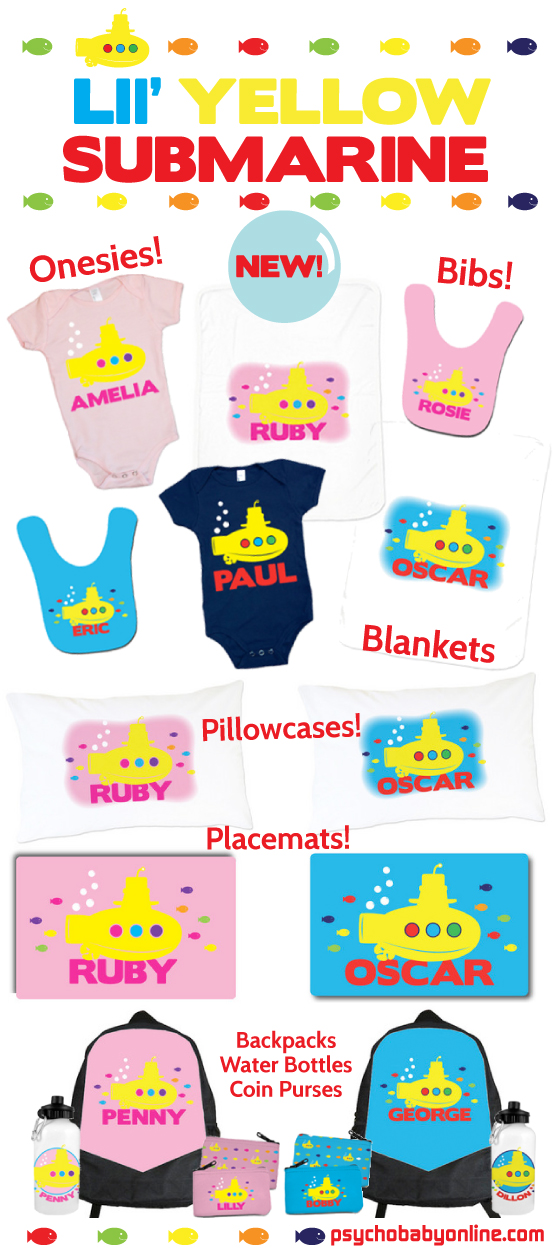 Lil Yellow Submarine and Beatles Gifts for Babies and Kids
