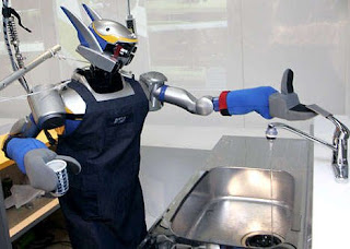 a Japanese robot washing up
