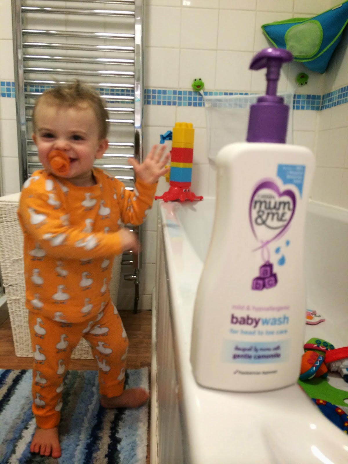 Mrs Bishops Bakes And Banter Bath Time With The Bertster Cussons Baby Hair Body Wash Mild Gentle 400ml A Slightly Blurry Shot But Couldnt Resist Including Berts Tah Dah Moment Presenting You All His Fab New In Duck Pjs