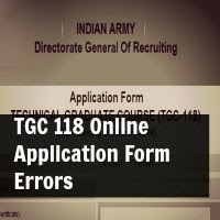 TGC 118 Online Application Form Errors