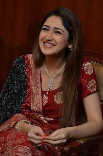 Sayesha Saigal Looks Beautiful in Red Salwar Suit WOW Cute Beauty HQ Pics