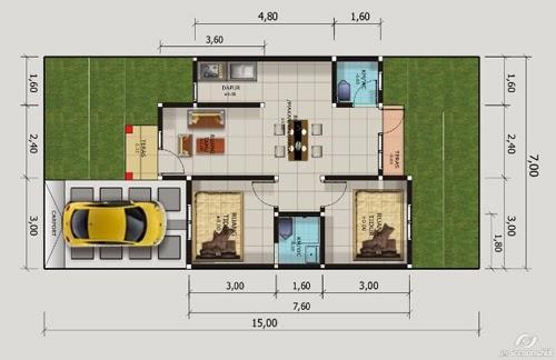 Gambar Rumah Minimalis 1 Lantai 2 Kamar Insprirasi Desain Denah
