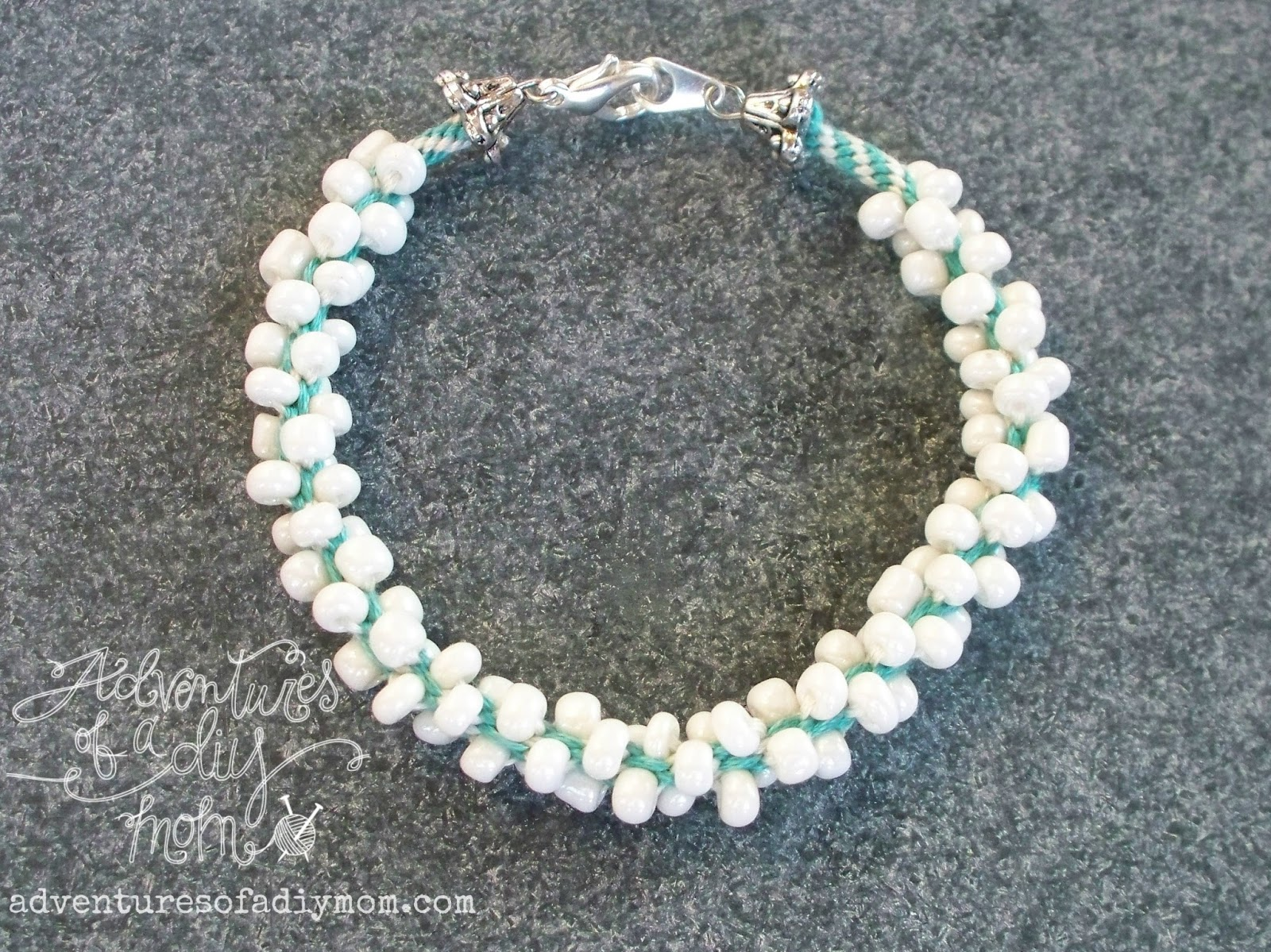 embroidery thread and seed bead kumihimo bracelets and a