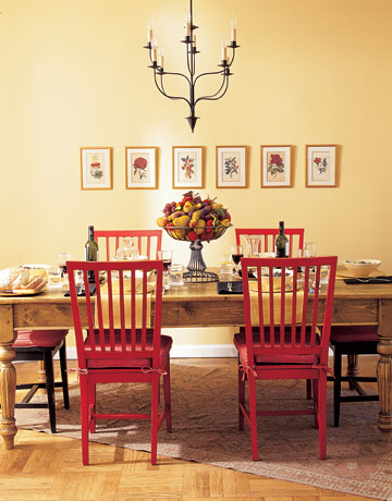 Delorme designs hot dining rooms for Red dining room chairs