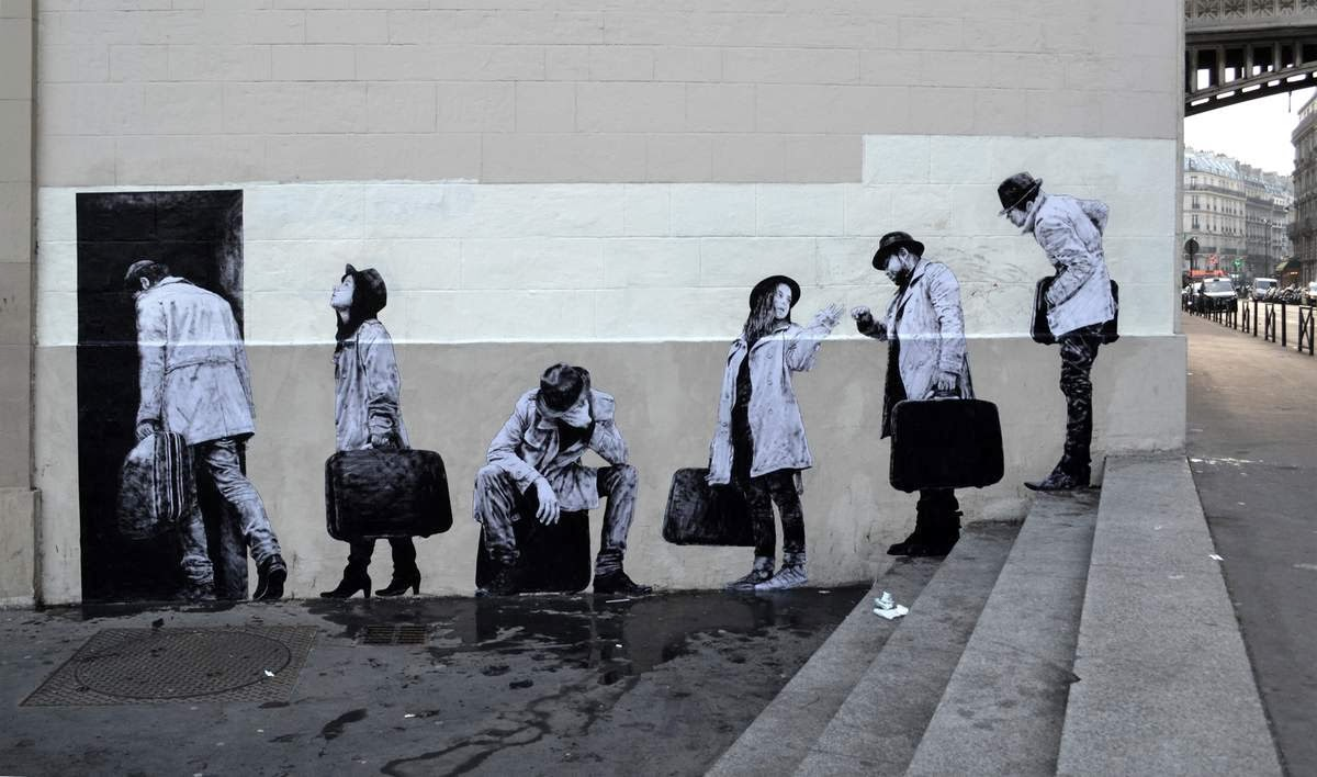Epic  The Departure New Piece By Levalet on the streets of Paris France