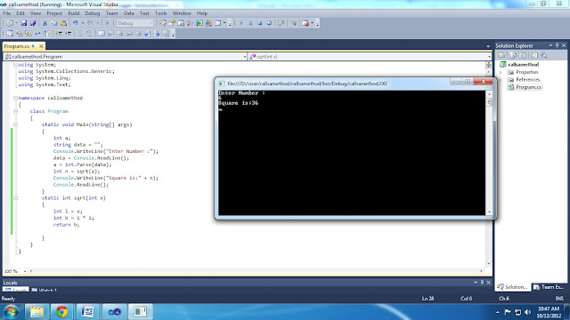 Write a program in C# that calls a method to find the square of 10