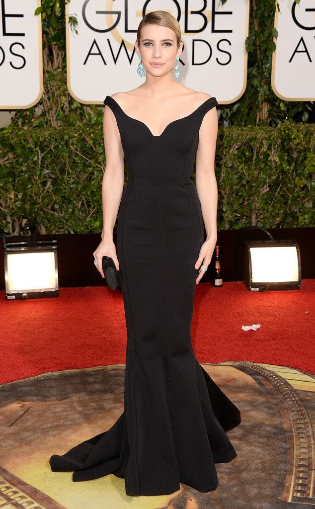 Emma Roberts in a black Lanvin dress at the 2014 Golden Globe Awards