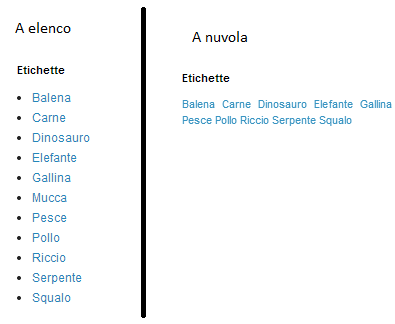 differenza menù a elenco a nuvola