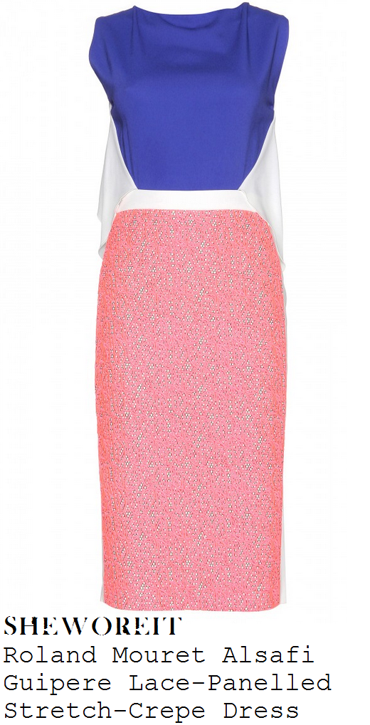 cheryl-fernandez-versini-white-purple-blue-and-bright-coral-pink-lace-colour-block-sleeveless-pencil-dress-x-factor-auditions