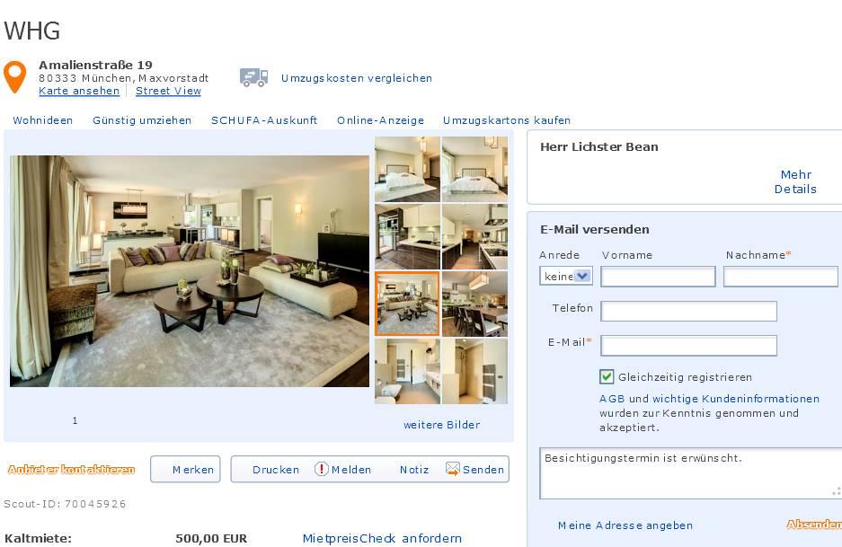 alias herr lichster bean gegen wohnungsbetrug against rental scammers. Black Bedroom Furniture Sets. Home Design Ideas