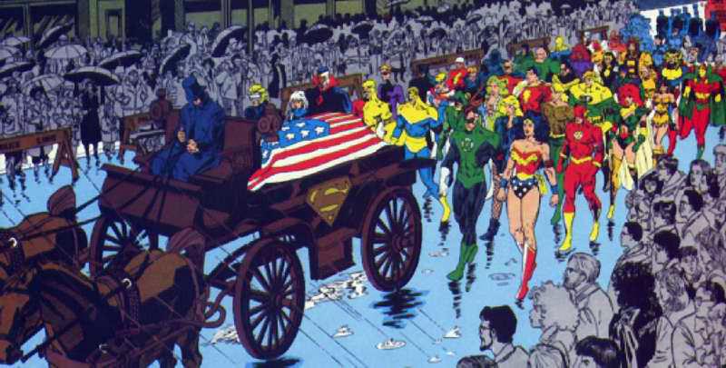 superman, comics, años 90, cortejo funebre, muerte de superman