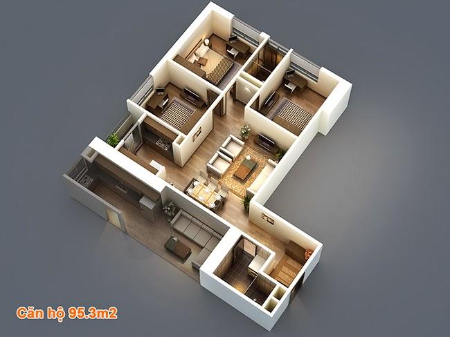 Thiết kế căn hộ 95,3m2 chung cư HP Landmark Tower