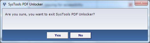 Systools tool PDF Unlocker exit panel