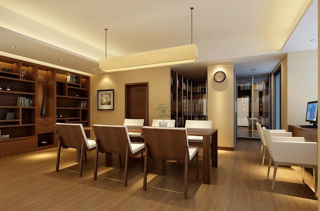 Mẫu trần thạch cao phòng ăn nội thất gỗ đẹp