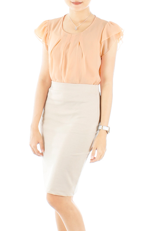 Peach Flutter Away Pleat Chiffon Blouse