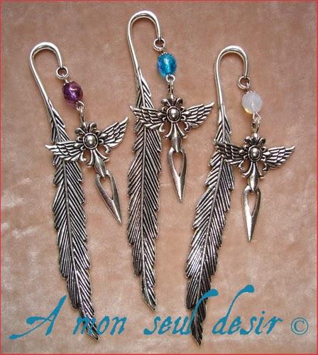 marque page plume épée medieval fantasy sword feather silver bookmark