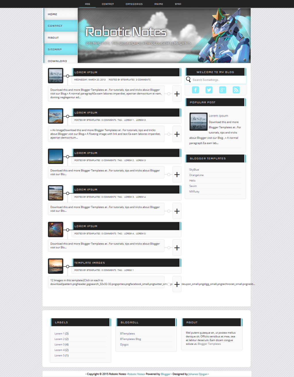 Robotic Notes Blogger Template