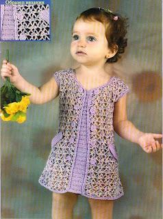 схема вязания крючком детского платья.