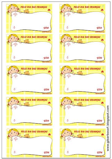 Etiquetas Fofinhas para o Dia as Crianças