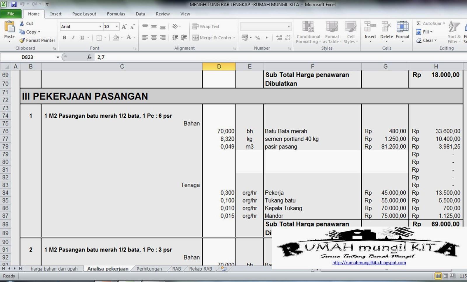 Menghitung RAB rumah tinggal - analisa pekerjaan konstruksi