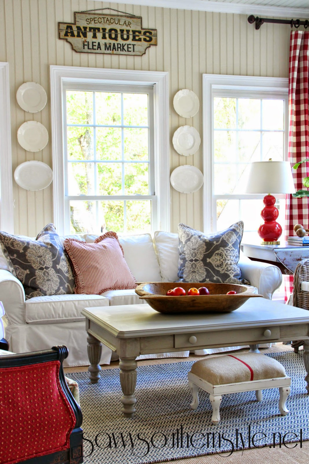 Savvy Southern Style New Red Gray Additions In The Sunroom
